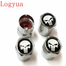 4pcs/Lot Car Truck Motorcycle Skull Logo Black/Sliver Tire Trye Valve Caps Dust Cover Wheel Cap for Punisher(China)