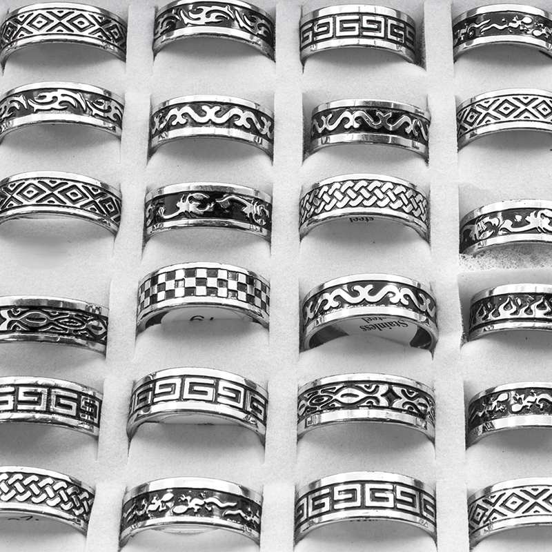 Vintage Style Unisex Stainless Steel Rings [ 100 piece lot ] 2