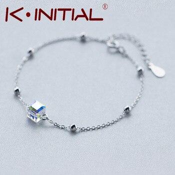 Kinitial 1Pcs New 925 Sterling Silver Austrian Crystal Bracelet Bangle for Women White Gold Cube Crystal Bracelet To Weddings