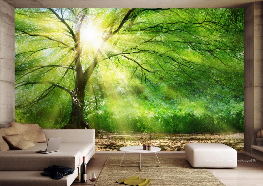 Wallpaper For Walls 3 d Custom Photo Wallpaper Non-woven farmhouse style sunny woods Living Room Bedroom Home improvement<br>