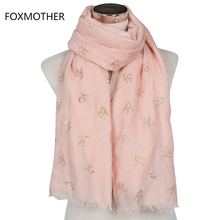 Free Shipping 2017 New Design Pink Bronzing Gold Swallows Bird Women's Scarves Long Wraps With Fringe(China)