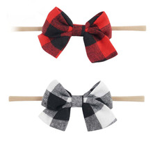 Nylon Headband With Fabric Plaid Bow For Kids Bebe Girls Handmade Boutique Hair Accessories Headwear(China)
