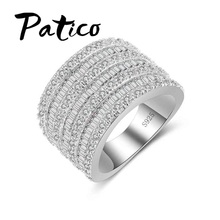 PATICO 925 Sterling Silver Wedding Rings Women Wide Rings AAA CZ Full-Zirconia Multilayer Shiny Style Finger Rings Wholesale