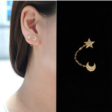 The Moon And Stars In The Full Earrings Ear Chain Double Hole Earrings Brincos Korean Fashion Jewelry Korean High-end Jewelry