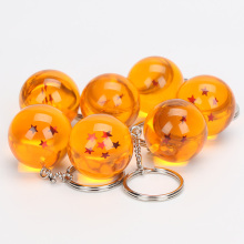 7pcs/lot 2.5cm Dragon Ball Z  1 2 3 4 5 6 7 Stars Crystal Balls PVC Figure Toy With Keychain keyring