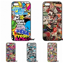For Xiaomi Redmi Note 2 3 3S 4 Pro Mi3 Mi4i Mi4C Mi5S MAX iPod Touch 4 5 6 Colorful JDM Car Graffiti Sticker Bomb Pattern Case(China)