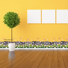 Flowers Butterflies Wall Sticker Decal Skirting Line Grass Home Paper Picture DIY Mural kid Nursery Baby Living Room Decoration