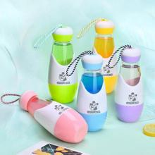 Outdoor Water Drop Shape Glass Water Bottle With Rope Lid Silicone Case Anti-hot Warm Student Hands Bottle Advertising Gift 3