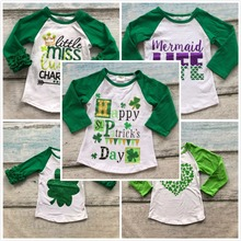 baby girls boy St.Martin's day heart Shamrocks print cotton boutique top T-shirt  clothing green kid spring wear long sleeve