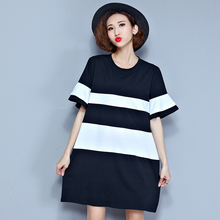 L-3XL High Quality Plus Size Classic Black and white Striped Summer Women Dress Knit Loose Short T-shirt Dress for Women