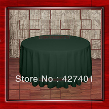 "Hot Sale  132"" R  Forest Green Round Table Cloth Polyester Plain Table Cover for Wedding Events &Party Decoration(Supplier)"