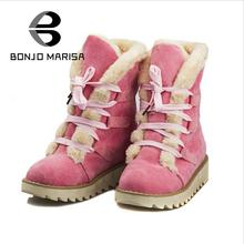BONJOMARISA Fashion Snow Boots Women Winter Shoes With Thick Fur Lace Up Flat Heels Rubber Sole Fur Boots Platform Shoes Woman