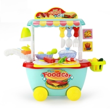 Early education Kitchen set fast food trolley car Sound light Effect Kitchen tableware food Simulation Model Play Toy for kids