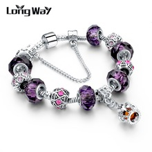 LongWay New Silver Color Charm Bracelet For Women Royal Crown Bracelet Purple Crystal Beads Diy Jewelry SBR160016