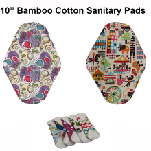 "3pcs/lot Regular Flow 10"" Reusable Washable Bamboo Cotton Cloth Menstrual Sanitary Napkin Maternity Mama Pads for Women"