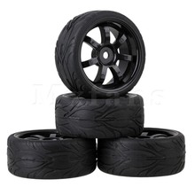 Mxfans  4x Black RC 1:10 On-road Car Rubber Fish Scale Tyre & Plastic 7-spoke Wheel Rim