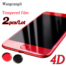 For iPhone 7 plus Chinese red 4D full coverage tempered glass For iPhone 7 plus HD screen protection glass foil 2Pcs/lot