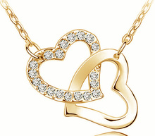 Free Shipping Gift Wholesale fashion jewelry top quality Czech drilling AAAA+ rhinestone 8 colors Necklace Double Heart pendant(China)