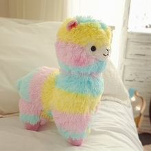 New Hot Sale Soft Rainbow Alpaca Animal Plush Toy 35cm 50cm Girl's Lovers Gift Children Christmas Present 1pcs Free Shipping