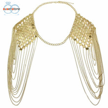 SUSENSTONE 2017 Bohemian Punk Statement Necklaces Collar Shoulder Chain Long Necklaces Women Sexy Statement Body Jewelry(China)