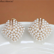Kuziduocai 2017 New ! Fashion Fine Jewelry Gold Color Luxury Beautiful Generous Pearl Pearl Squares Stud Earrings For Women E-78