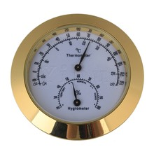 Yibuy Golden Guitar Violin Hygrometer Moisture Humidity Monitor Thermometer