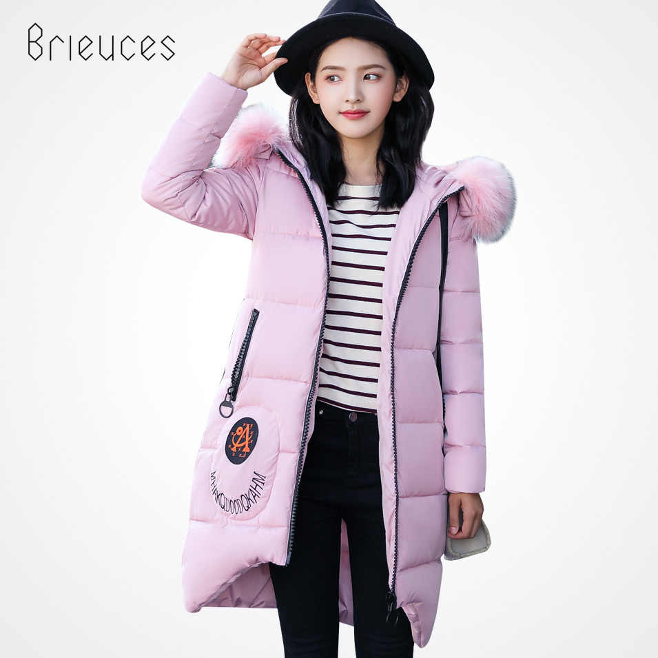 Brieuces 2017 winter jacket women long winter jackets parkas ladies padded with fur collar outwear warm winter women coatÎäåæäà è àêñåññóàðû<br><br>