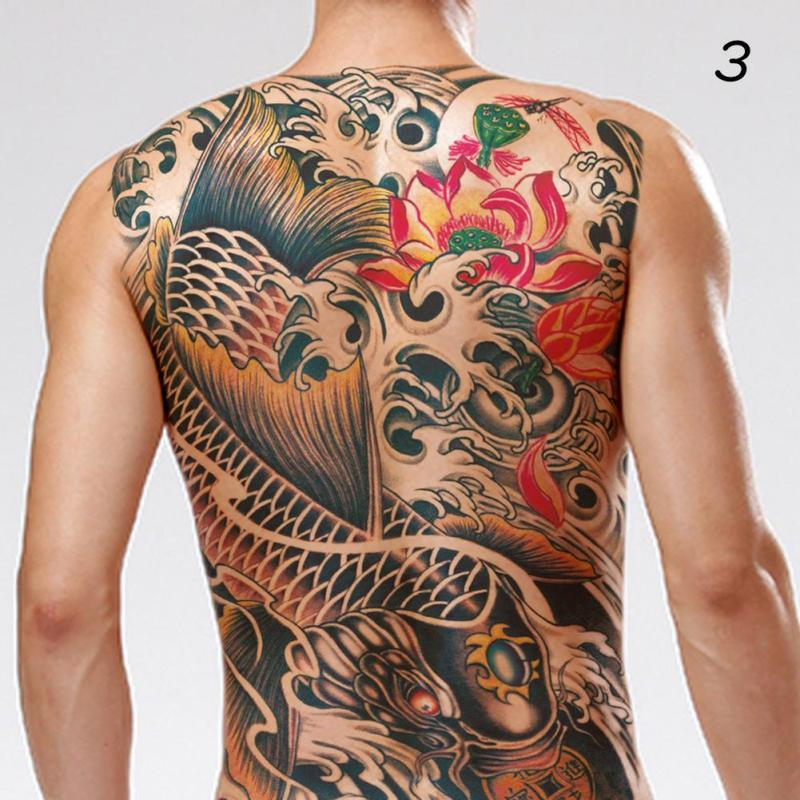 Waterproof Temporary Tattoo Sticker Koi Lotus Women Men'S Whole Back Tattoo Large Tatto Stickers Flash Tatoo Fake Tattoos A# 3