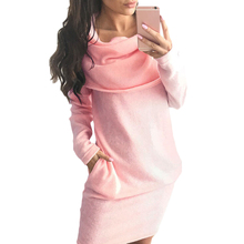 YJSFG HOUSE Fashion Women Evening Party Dress Casual Loose Autumn Long Sleeve Office Dress Ladies Pink Black Gray Mini Dresses