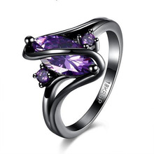 SHUANGR Trendy Pink Engagement Wedding Rings For Women Horse Eye Cz Black Gold Rings Party Jewelry bague femme anillos