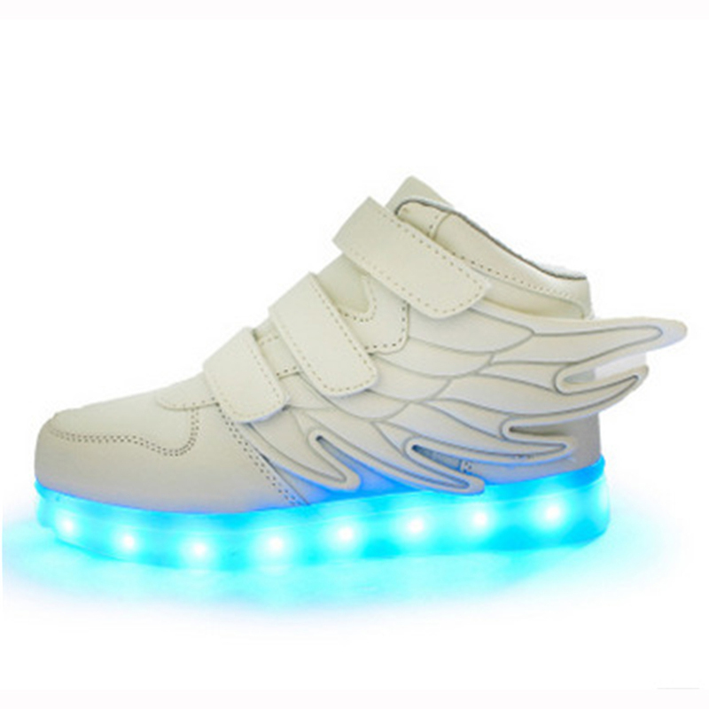 small szie Led shoes light shoes colorful luminous wings magic stickers shoe LED USB charging shoes 0-15 years old<br><br>Aliexpress