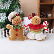 1 Pcs/Pack Hot Sale Christmas Ornaments Gingerbread Man Decorated Small Pendant Christmas Tree Set Plush For Decoration Supplies(China)
