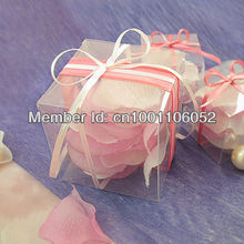 Free Shipping--100pcs 5cm*5cm*5cm Clear Matte Square PVC Wedding Favor Box Gift Box Candy Boxes Wedding Decoration