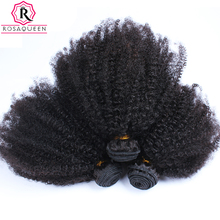Mongolian Kinky Curly Hair 100% Human Hair Weave Bundles Natural Black Color Afro Kinky Curly Remy Hair Rosa Queen