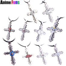 17 types Anime Game Cross Choker Necklace One Piece Final Fantasy Black Butler Conan Naruto Bleach Death Note Pendant drop-ship