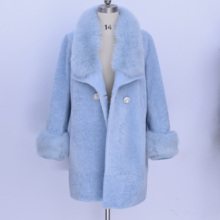 100% real leather winter new Women sheep Shearing Fur Fur one real fox hair Fur Coat Large size Female