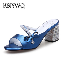2017 Open-toe Women Mules Pearls and diamonds Shoes 7 CM Chunky heels Genuine leather Summer Slippers Woman Box Packing Q906-8(China)