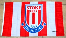 Stoke City Flag Banner 3x5 England British UK Premier Football Soccer Large Outdoor Flag 3' x 5' Banner metal holes Custom Flag(China)