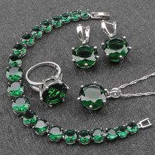 Ladies Costume Green Cubic Zirconia Silver 925 Jewelry Sets Earrings/Pendant/Necklace/Rings/Bracelets For Women Free Gift Box(China)