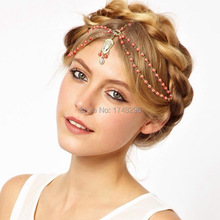 Bohemian Women's Pearl and crystal Tassel Head Chain Jewelry Forehead Dance Headpiece Hair Band Hair Tassel Chains For Women(China)