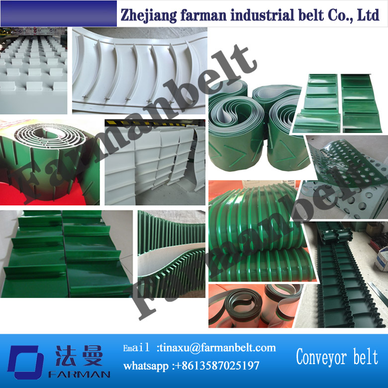 PVC conveyor belt with profile, attachment, cleat, holes, bar,skirt<br>