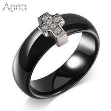 A&N Black & White Ceramic Rings Cross Cubic Zircon Cabochon Smooth Ceramic Ring Jewelry Unique Design New Region Rings For Women(China)