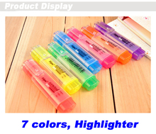 7 color Highlighter Marker 7 pens/lot, chisel tip,candy aroma, YGB00004(China)