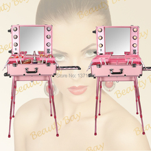 Beautiful Pink color Aluminum makeup station with light bulb, mirror, trolley and 4 legs, cosmetic train trolley case