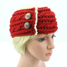 Hair Bands for Women Lace Button Wide Knit Crochet Winter Headband for Women Head Bandanas Hairband Acessorio Turbante