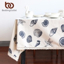 BeddingOutlet Tablecloth Shell Ocean Style Table Cover Linen Cotton European Tablecloths Rectangular 9 Sizes