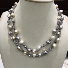 Casual Sporty Baroque Long Fresh water Pearl and Crystal necklace Trendy Jewelry for women Grey color wax rope(China)