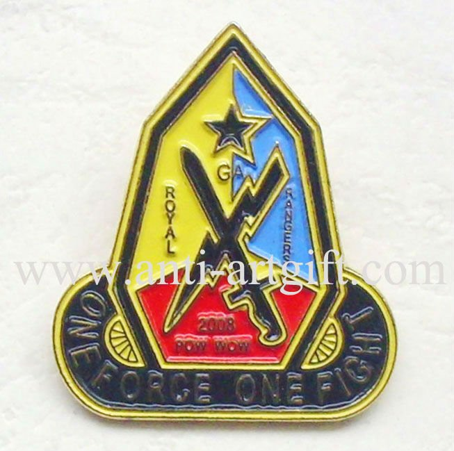 Custom Iron Soft Enamel Royal Rangers Lapel Pins Religious MOQ badges of antique Five star colorful club of awareness(China (Mainland))