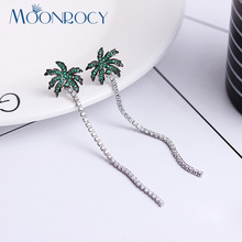 MOONROCY Free Shipping Fashion Jewelry Cubic Zirconia Green Coconut Tree Austrian Crystal Long Tassel Earrings for Women Gift