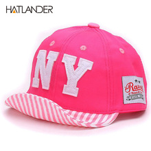 Hatlander Cotton Baby hat Boys Baseball Caps Kids Embroidery Letter NY caps Children Sun hat toddler Girl hat babies infant Hats(China)